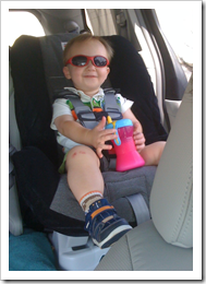 "Reid on his way home from school wearing his ""cool guys"" (sunglasses)."