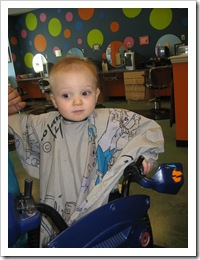 First haircut!  Right before his 1st birthday! March 2010