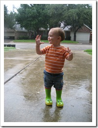 Reid loves the rain and his rain boots! - Sept 2010