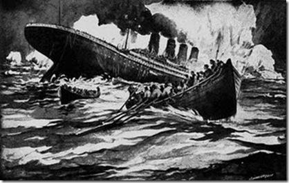 Impressão artística mostrando o naufrágio do Titanic