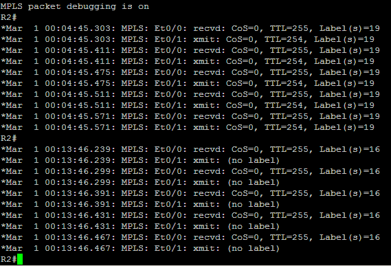 MPLS Processing at R2