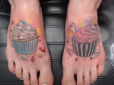 good evil cup cakes tattoo design, feet tattoo