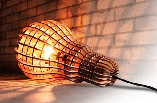 電球型レーザーカッティングランプ [Laser cut plywood lamp] + monogocoro