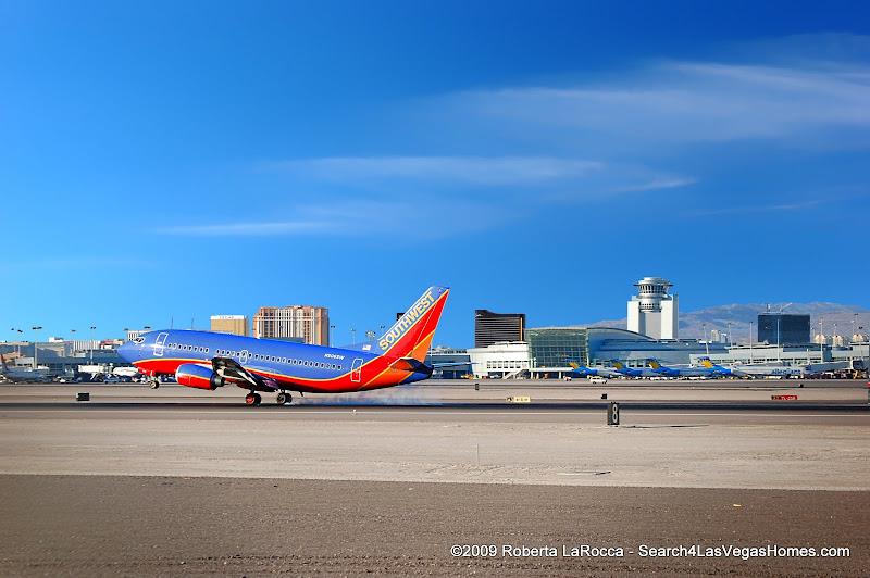 Southwest Jet landing at McCarran Airport Las Vegas