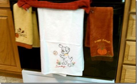 Aunt Kathleen's 'Sunday' towel decorating Kyle and Jenni's kitchen