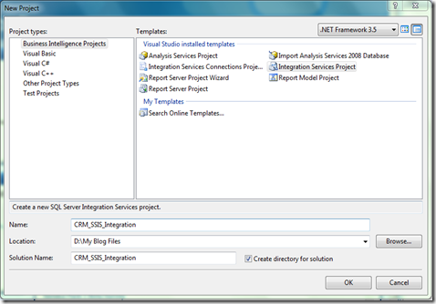 CRM_SSIS_Integration Create Solution
