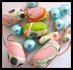 Sherbert Necklace - Soft Fabric Beads with Shell Pearls