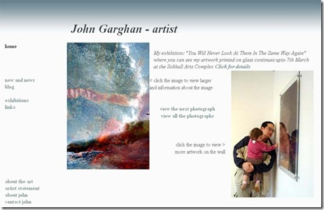 Home page of the new site www.johngarghan.co.uk