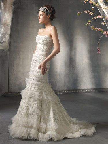 Lazaro ; Top Strapless Wedding Dress Designer Bridal Gown