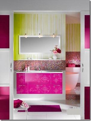 salle de bain rose & blanc