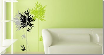 stickers en vert tiges bambous