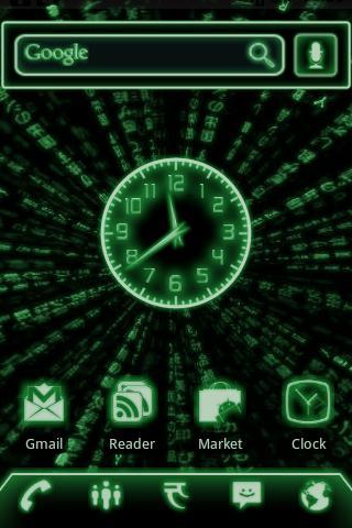 Green Glow Code Clock Widget