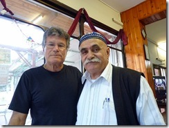 With the Druze restaurant owner.