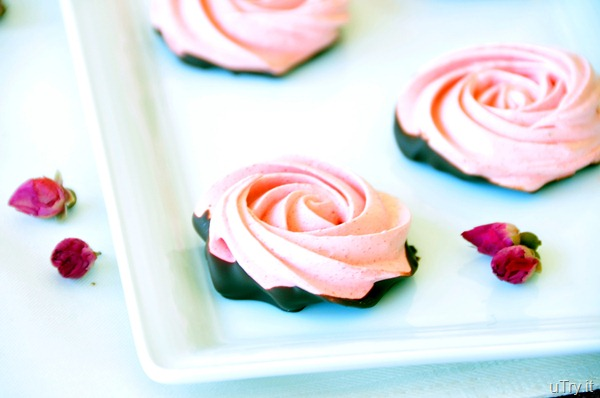 Chocolate Dipped-Strawberry Meringue Roses