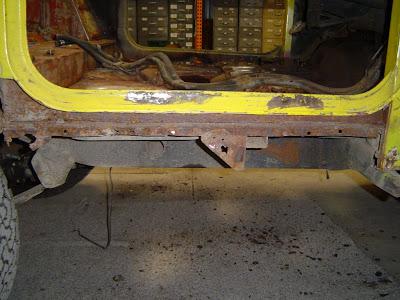 Passenger FJ40 Rocker Panel Removed