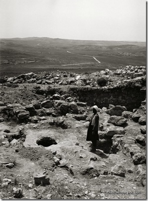 Excavations at Mizpah, mouth of old cistern, mat05515