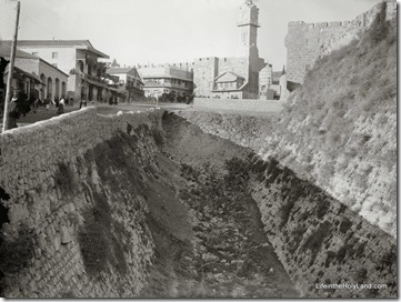 Jerusalem, looking down moat toward clock tower, mat08549