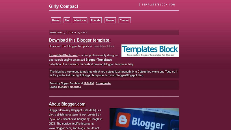 Blogger Template - Girly Compact
