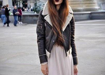 aviator jacket dark lipstick street style