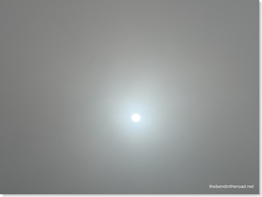 January sun trying to break through the fog