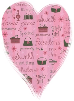 girly girl scrapbook paper heart