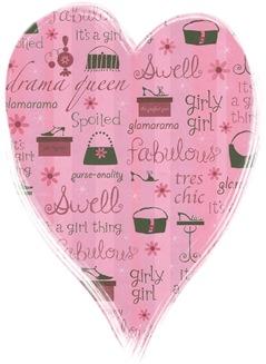 girly girl scrapbook paper heart