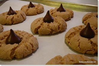 PB Cookies with Chocolate Kisses
