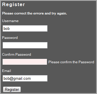 Validation for User Registration