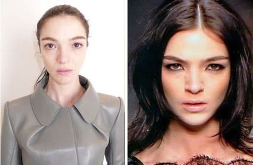 models no makeup. Models With And Without Makeup