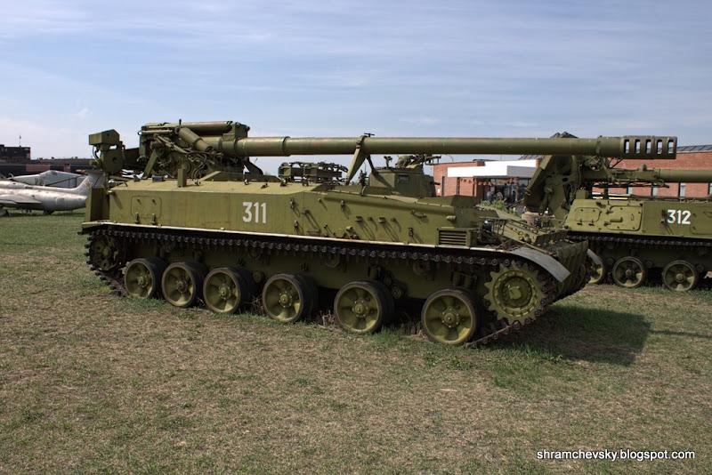 Russian Soviet 152 mm self-propelled howitzer 2C5 Giatsint-S Русская Советская 2С3 Акация 152-мм самоходная пушка Технический Музей Тольятти
