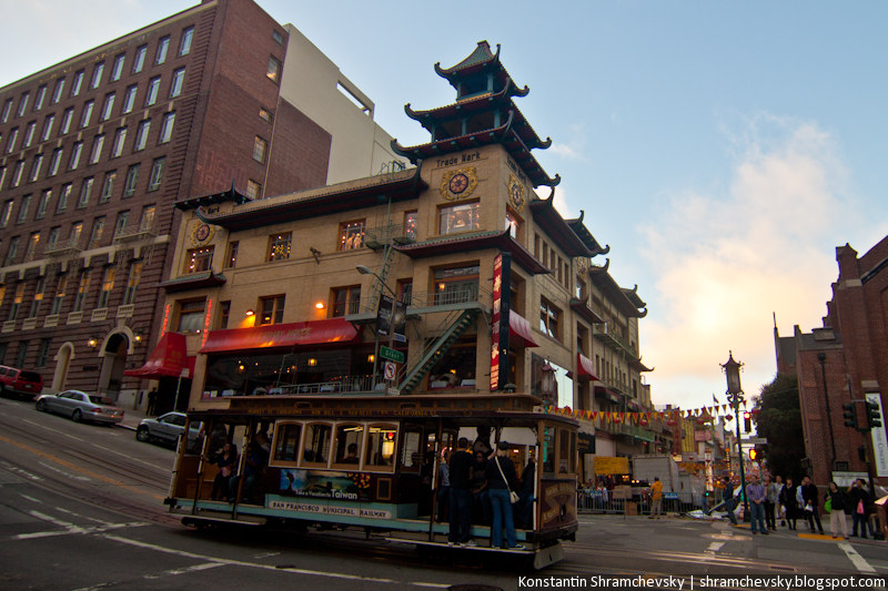 USA California San Francisco Chinatown Cable Car США Калифорния Сан Франциско Чайнатаун Кабельный трамвай
