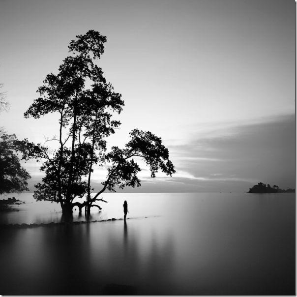 Fotografias em preto e branco do oceano