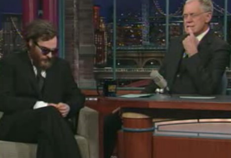Joaquin Phoenix David Letterman show video screenprint