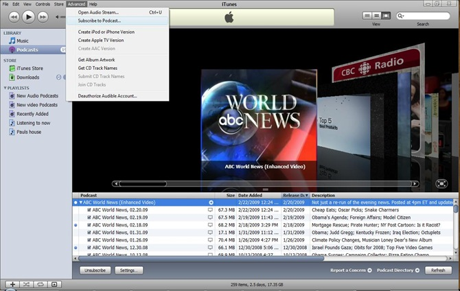 SCreen shot Itunes RSS 1
