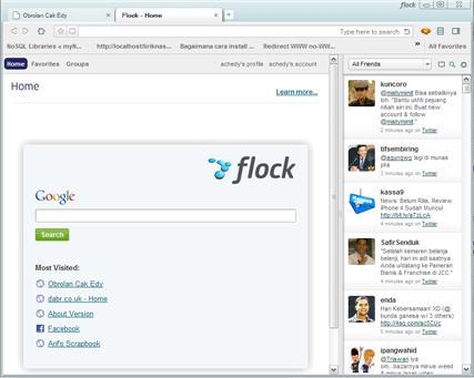 Tampilan Flock Beta Berbasis Chrome