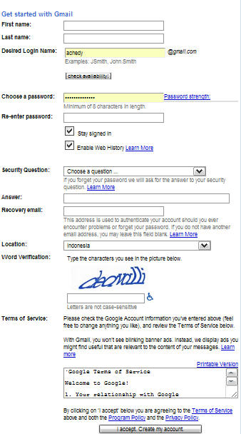 Rumit : Formulir Pendaftaran Gmail