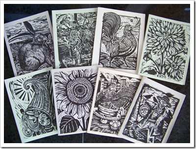 green cards lino cut rhinebeck farmers market gina palmer illustrations