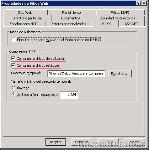 Propiedades de Sitios Web IIS