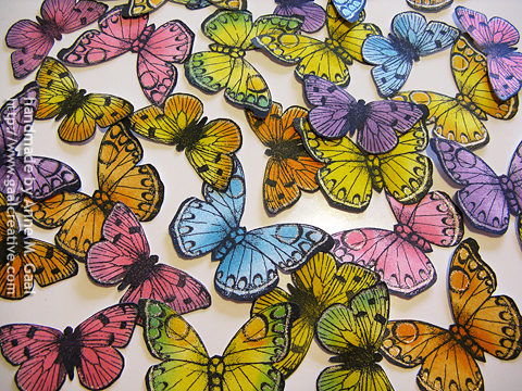 Butterflies colored with Distress Inks