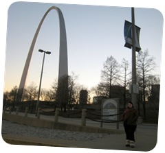 Erica at the St Louis Arch