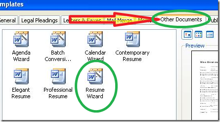 when the resume wizard opens click next - Resume Wizard