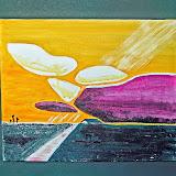 abstracte variatie van verschuilende zon