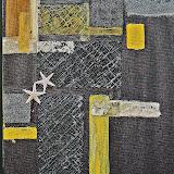 oliestrand, acryl,papier en zeesterren
