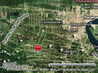 De rode punaise geeft ongeveer het nieuwe gebied, Wanica, weer. Dit is het 2e gebied waar  elder Jared Croese dient.