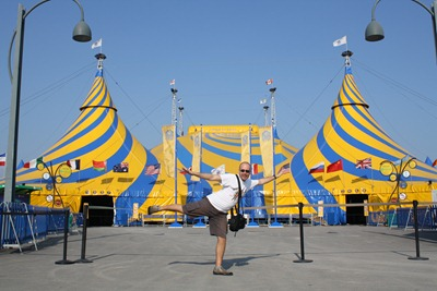 Num casting à porta do Cirque du Soleil... mas fui rejeitado. Nem como palhaço sirvo!