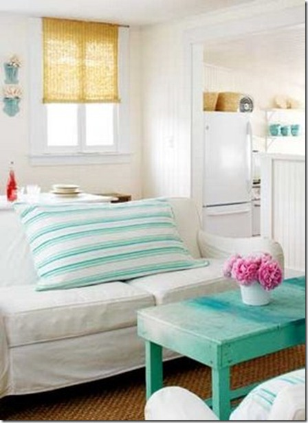 white and turquoise decor