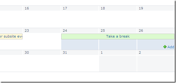 Adding an Event over Multiple Days