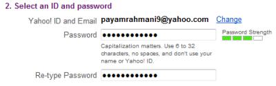 نمونه پر شده قسمت دوم فرم ثبت نام ایمیل یاهو