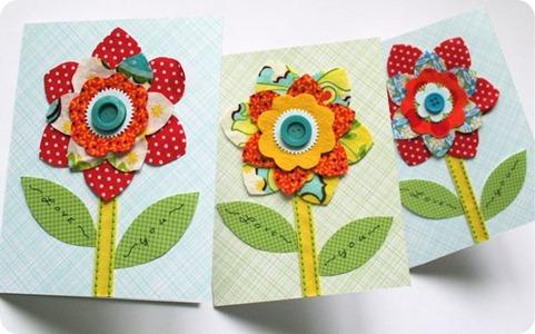 cartao com flor de tecido