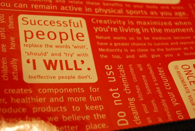 Successful people replace the words 'wish', 'should' and 'try' with 'I will'. Ineffective people don't.